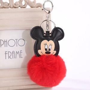 Mickey Mouse w/ Red Pom Pom on a Silver Keychain